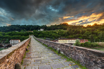 medieval stone bridge in Tuscany