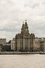 Royal liver building view in Liverpool from ferry in a cloudy summer day