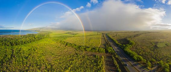 Aerial view over West Maui Mountains with a rainbow, Maui Veterans Highway, Maui, Hawaii, USA