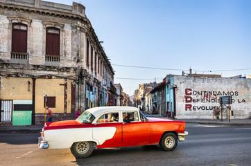Driving vintage car, Havana, Cuba