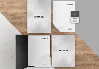 Geometric Stationery Kit Mockup