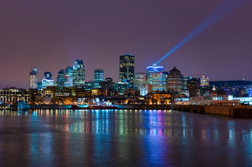 Canada, Quebec, Montreal, Skyline at night