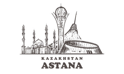 Fotomurales - Astana sketch skyline. Nur-Sultan, Astana hand drawn vector illustration.