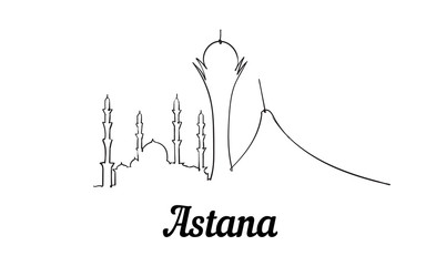 Fotomurales - One line style Astana skyline. Simple modern minimalistic style .