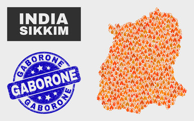 Vector collage of flame Sikkim State map and blue round scratched Gaborone seal stamp. Orange Sikkim State map mosaic of flame symbols. Vector composition for guard services, and Gaborone seal.