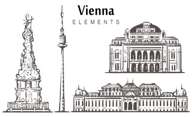 Fotomurales - Set of hand-drawn Vienna buildings, Vienna elements sketch vector illustration.