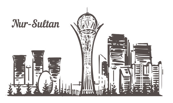 Astana sketch skyline. Nur-Sultan, Astana hand drawn vector illustration.