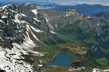 Trübsee seen from Mount Titlis in the Uri Alps in Switzerland