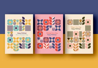 Retro Graphic Floral Birthday Card Layout Set
