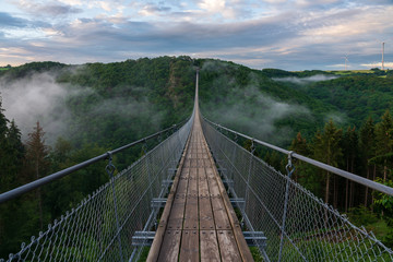 View of a suspension bridge in Germany, Geierlay.
