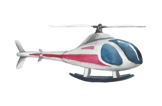 Watercolor stylized helicopter on a white background for compositions on the theme of leisure, travel, holidays, flights to other cities and countries.