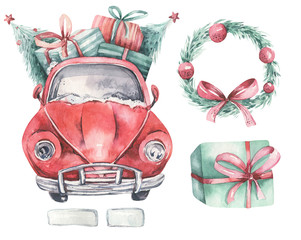 Watercolor christmas holiday card transportation illustration. Merry Xmas winter tree design with wreath. Hand painted New year retro vintage cars