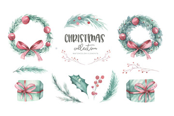 Wall Mural - Watercolor Christmas set of wreath with christmas tree spruce branches, flower and berries on a white background isolated. Holiday decoration winter element Scandinavian design style