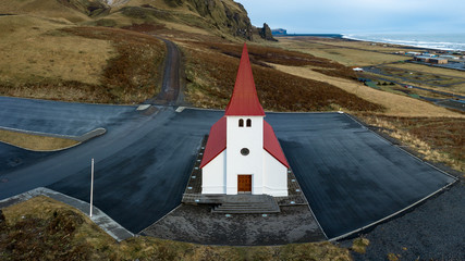 Wide Angle aerial of vik church iceland