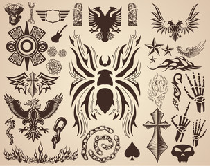 Spider Tarantula and Variety of Tattoo elements tribal design vector set collection