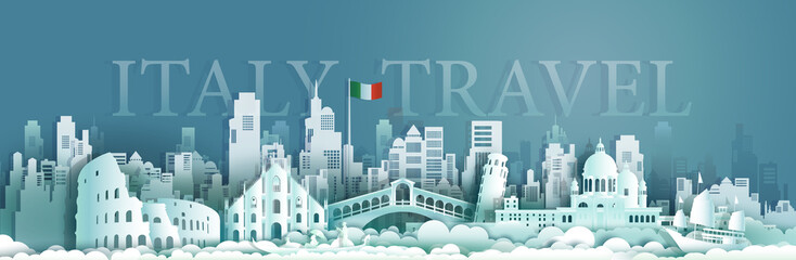 Wall Mural - Travel italy Europe architecture famous landmarks by gondola and sailboat.