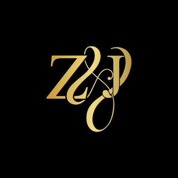 Z & J ZJ logo initial vector mark. Initial letter Z & J ZJ luxury art vector mark logo, gold color on black background.