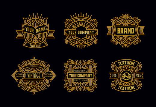 Beautiful Vintage Badges Modern Minimalism Line Art Ornament Frame Decorative  Old Fashioned Graphic Design Retro Element