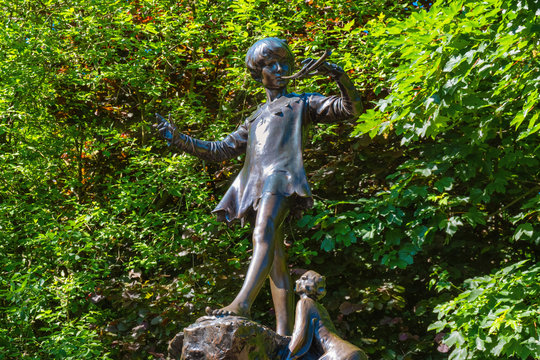 The Peter Pan statue at Kensington Gardens, London, UK