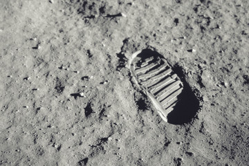 Spoed Foto op Canvas Nasa Step on the moon. Elements of this image furnished by NASA