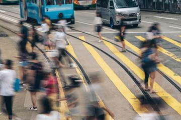 Pedestrian crossing at Busy City, Hong Kong Wall mural