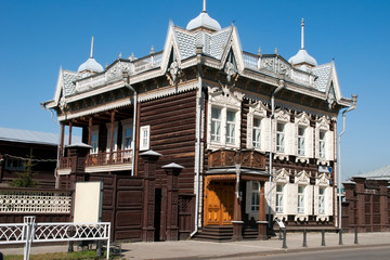 Irkutsk Russia, Traditional architecture, log house with carved lacework window decorations
