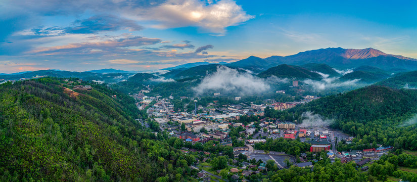 Gatlinburg, Tennessee, USA Downtown Skyline Aerial Panorama