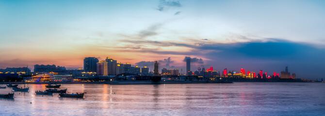 Fototapeta Urban Architectural Landscape Skyline along Qingdao Coastal Line..