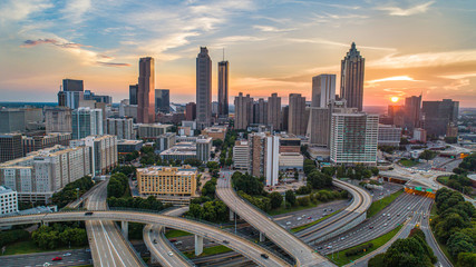 Sunset over Downtown Atlanta, Georgia, USA