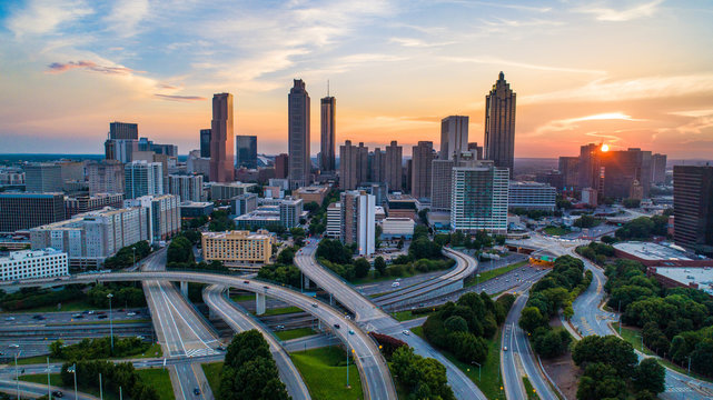 Atlanta, Georgia, USA Skyline Drone Sunset