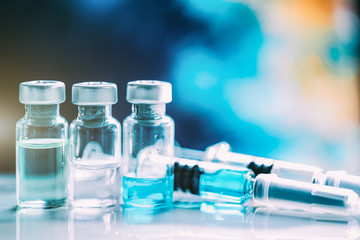 Injectable medications in sealed vials and a disposable plastic medical syringe