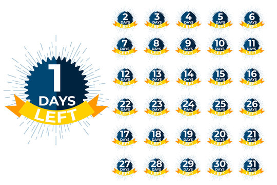 Days left badges. Sale offer shopping day countdown. Vector illustration.