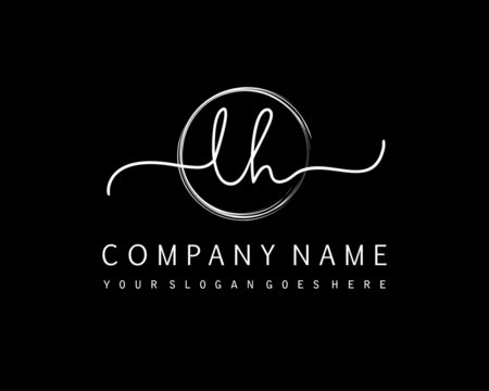 LH Initial handwriting logo with circle hand drawn template vector