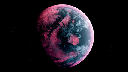 Alien Planet in the outer space. 3d rendering Fotomurales