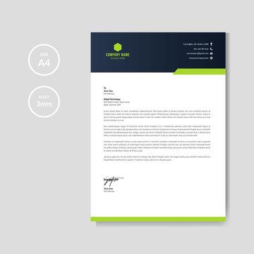 Modern green letterhead layout template vector