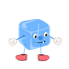 Funny cartoon blue ice cube with eyes, arms and legs in shoes, smiles and clenches fists.