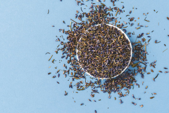 Dried lavender flowers on blue background. Top view