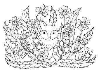 Coloring page with flowers and cute fox