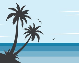 Palm tree icon of summer and travel background vector illustration