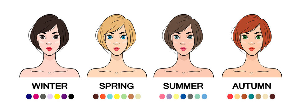 Set of Seasonal color types for women skin beauty with relevant colors. Summer, Autumn, Winter, Spring. Vector illustration
