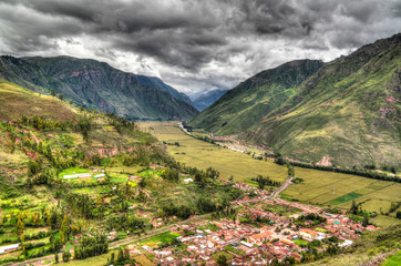 Aerial Landscape panoramic view to Urubamba river and sacred valley from Taray viewpoint near Pisac, Cuzco, Peru
