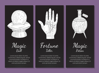 Esoteric Banners Templates Set, Magic Ball, Fortune Teller, Magic Potion, Philosophic, Occult, Mystical Symbols Monochrome Hand Drawn Vector Illustration