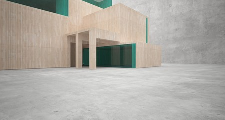 Abstract architectural concrete, wood and glass interior of a minimalist house. 3D illustration and rendering. Wall mural