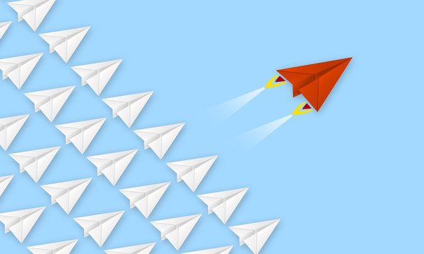 Red plane made of paper metaphor for rev up to business success with blue background