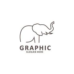 Elephant outline logo, simple vector illustration of the elephant