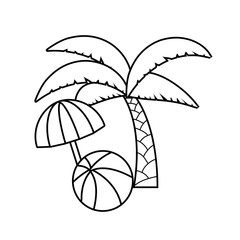 tropical palm with ball and umbrella open
