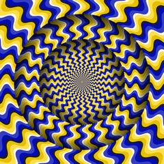 Abstract round frame with a rotating blue yellow wavy pattern. Optical illusion hypnotic background.