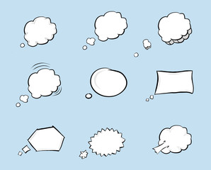 Collection of hand drawn think and talk speech bubbles. Comic style