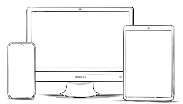 Hand Drawn Mobile Phone, Tablet PC and Computer Monitor Vector Illustration