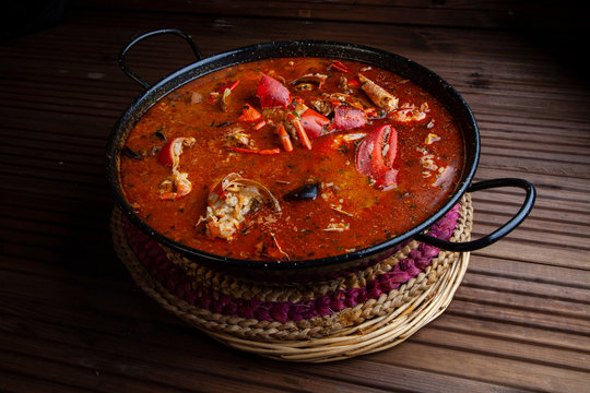 Lobster rice soup mediterranean traditional spanish food